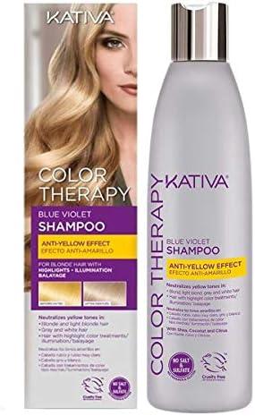 Kativa Color Therapy Champú Matizador Violeta Azul para Cabellos Rubios, Grises y Canas - 250 ml