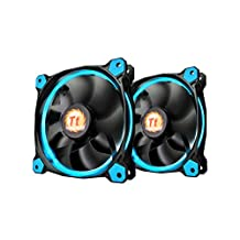Thermaltake CL-F048-PL14BU-A Riing 140mm Blue Led Ultra Quiet High Airflow Computer Case Fan, Twin Pack