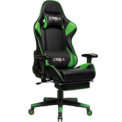 Cyrola Racing Gaming Chair Green for PC Gamer High Back 90-180 Adjustable Video Game Chair for Adults 360 Swivel Large Size Ergonomic Computer Office Gaming Chair with Footrest Armrest Lumbar Support