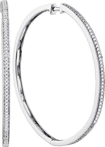 10kt White Gold Womens Round Diamond Slender Large Milgrain Hoop Earrings 1/3 Cttw