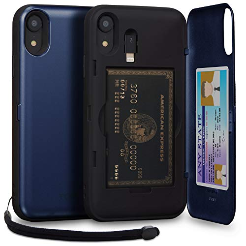 TORU CX PRO iPhone XR Wallet Case Blue with Hidden Credit Card Holder ID Slot Hard Cover, Strap, Mirror & Lightning Adapter for Apple iPhone XR (2018) - Navy Blue