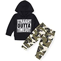 Newborn Baby Boy Clothes Funny Letter Hoodie Sweatshirt Tops+ Camouflage Pants Outfit Set
