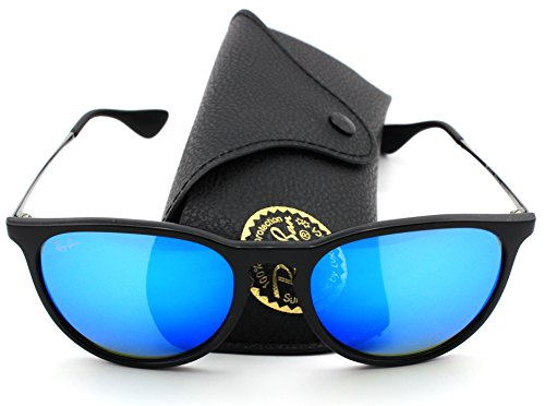Ray-Ban RB4171 601/55 Erica Sunglasses Black Frame / Blue Mirror - Ban Sunglass Ray Sale