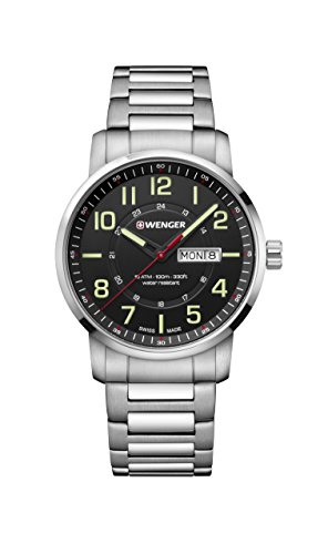 (Wenger Men's Sport Swiss-Quartz Watch with Stainless-Steel Strap, Silver, 22 (Model: 01.1541.102))