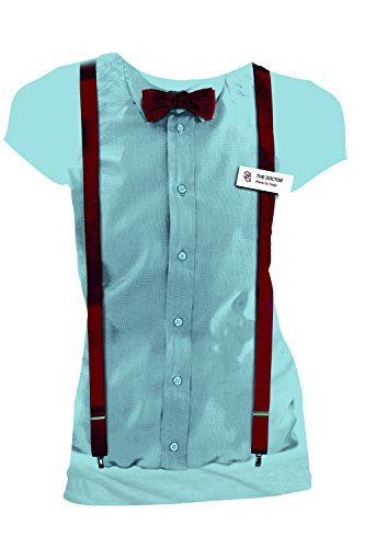 [Doctor Who 11th Doctor Braces and Name Tag Costume Shirt (Large)] (Peter Capaldi Twelfth Doctor Costume)