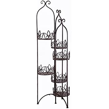 Amazon Com Adeco 6 Tiered Folding Scroll And Ivy Plant
