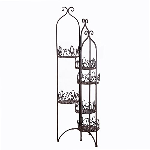 Ivy Stand (Adeco 6-Tiered Folding Scroll and Ivy Plant Stand Black with Brushed Bronze)