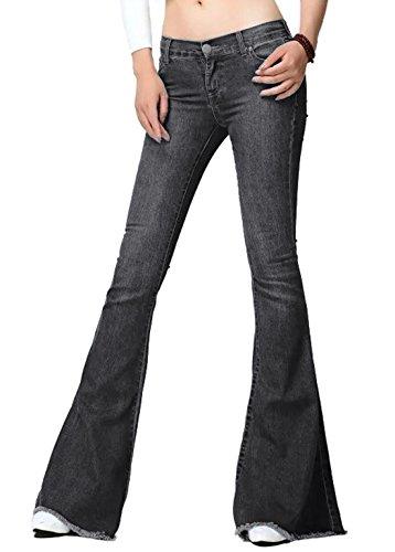 Chartou Women's Asymmetric Tassel Flared Slit Ripped Jeans Denim Pants (Small, Light Grey)