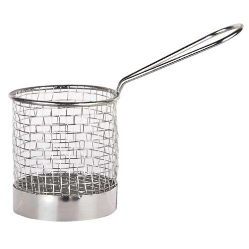 World Tableware Inc Round Stainless Steel Fry Presentation Bucket with Handle -- 12 per case.
