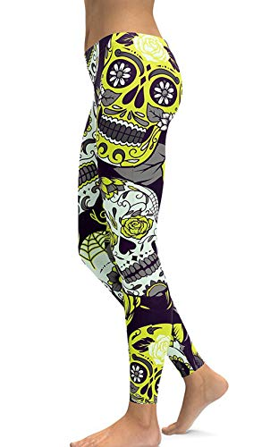 (sissycos Women's Retro Printed Sugar Skull Pattern Ankle Length Elastic Tights Leggings (X-Large, Yellow))