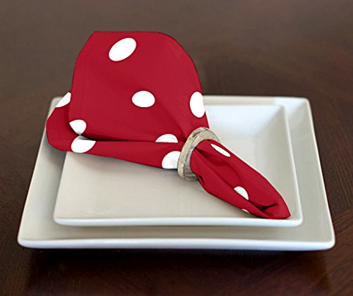 A LuxeHome Red and White Modern Contemporary Polka Dot Lunch Dinner Napkins 17