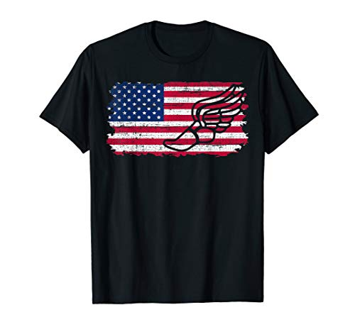 Vintage American USA Flag Track and Field Cool Lover Gift T-Shirt ()