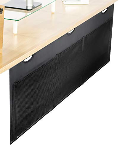 VIVO Black 60 inch Under Desk Privacy and Cable Management Organizer Sleeve | Wire Hider Kit Panel System (DESK-SKIRT-60) (Wires Hide Computer)