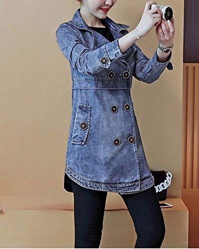 Grazioso Moda Giubbotto Lunga Donna Casuali Als Cappotto Outwear Vintage Eleganti Bavero Slim Di Autunno Jeans Double Denim Jacket Manica Giaccone Stlie Primaverile Bild Breasted Fit qX1TwTaO