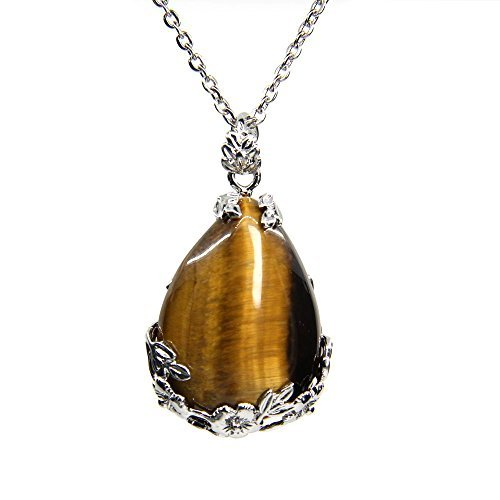 Natural Golden Tiger Eye Gemstone Droplets Reiki Chakra Pendant Stainless Steel Chains Necklace 18