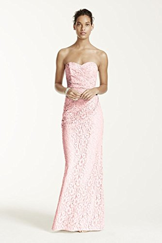 Long Strapless Lace Bridesmaid Dress with Sweetheart Neckline Style W10329...