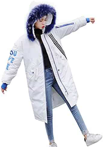 9a6df339e2762 Hatoys Women's Winter Warm Letter Print Outerwear Hooded Coat Slim  Cotton-Padded Jacket Tops