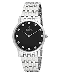 Bulova Men's 96D106 Silver Tone/Black Stainless Steel Watch