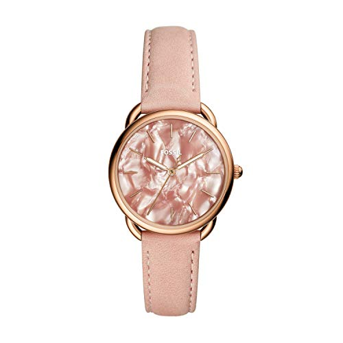 (Fossil Women's Tailor Quartz Stainless Steel and Leather Casual Watch Color: Rose Gold Pink (Model: ES4419))