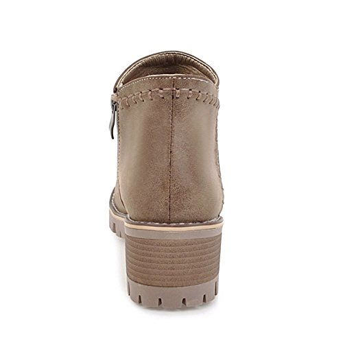 Fashion for Boots Casual Booties Yellow Boots Heel Toe Round Women's Ankle Gray ZHZNVX Leatherette Fall Grey Dress Boots Khaki Shoes Winter Low Black HSXZ xYnZaTqwp