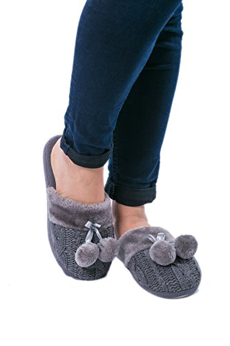 Airee Fairee Slippers Women Ladies Indoor Slip-on Mules with Knitted Upper and Pom Poms by Grey G9eIV