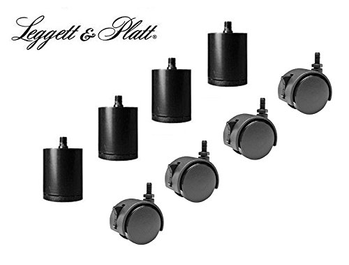 4-3/4'' Adjustable Base Legs with Casters Leggett & Platt M8 Thread - Set of 4