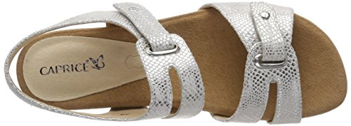 Sandalias Caprice Mujer Plata, Ancho G