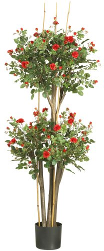 - Nearly Natural 5238 Mini Rose Silk Tree, Red, 5-Feet