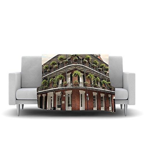 60 by 50-Inch Kess InHouse Sylvia Cook New Orleans Street Corner Green Brown Fleece Throw Blanket 60 X 50