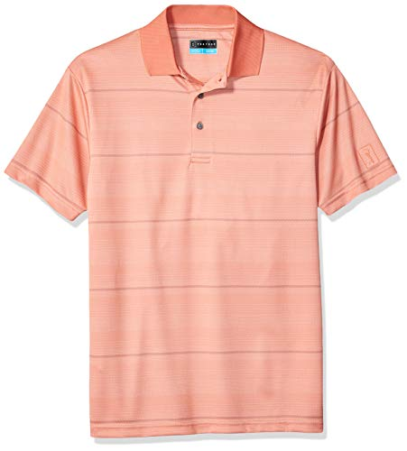 Golf Textured Jacquard - PGA TOUR Men's Short Sleeve Jacquard Polo Shirt, Textured Stripe Fusion Coral, L