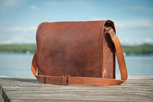 Full Flap Sling - Urbankrafted Leather Full Flap Messenger Handmade Bag Laptop Bag Satchel Bag Padded Messenger Bag School Bag 15X11X4 Inches Brown Christmas gifts