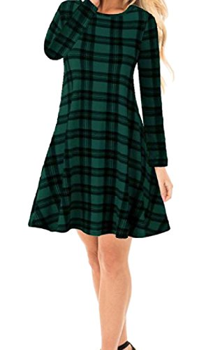 Dress Mid Sexy Women Swing Slim Pullover Classic Comfy Length Green Plaid zC0Hw