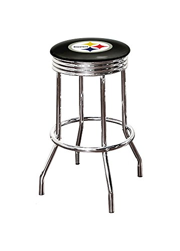 """The Furniture Cove 1-24"""" Tall Chrome Finish Retro Style Swivel Seat Bar Stool Featuring the Choice of Your Favorite Football Team Logo on a Colored Vinyl Seat Cushion (Steelers Black - Black Vinyl)"""