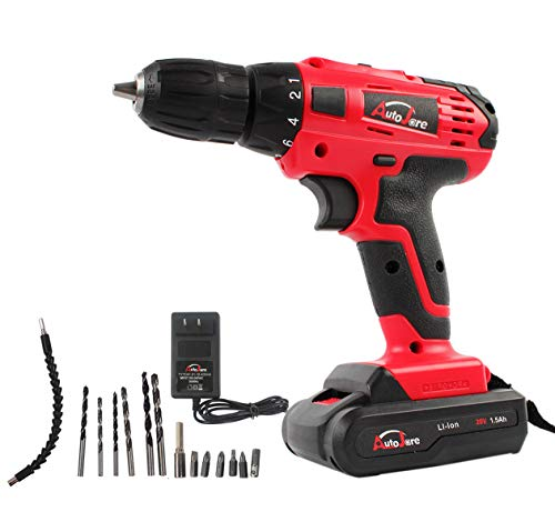 18V Electric Cordless Drill – 3/8″ Keyless Chuck, Lightweight Cordless Drill,Rechargeable Lithium-Ion battery Drill/Driver,Durable&Fast Application Speeds Dirll kit by AUTOJARE For Sale