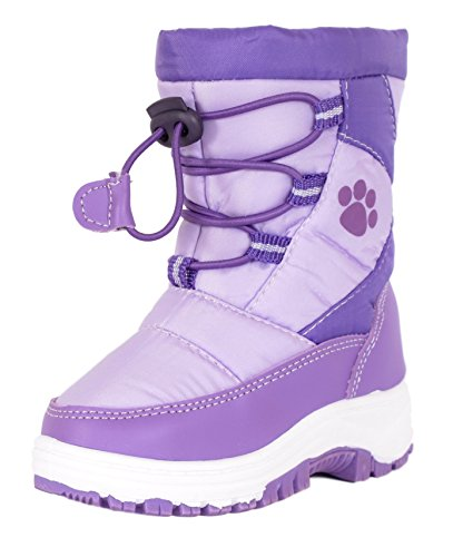 Rugged Bear Girls Paw Print Snow Boot Lilac Purple 13 (Boots For Girl Sale Winter On)