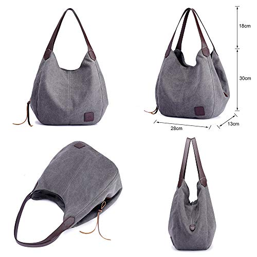 Handbag Library Look Fashion Causal PU Canvas with Stylish Shoulder Bucket Shopping Hobo Bag Handle Lady for Simple Bag Beach Tote Multifunctional Gray Travel Large Capacity PUYqwx16W
