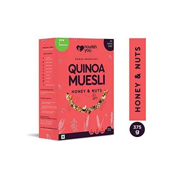 Nourish You Quinoa Muesli - Honey and Nuts, 375 Grams (Single Pack)