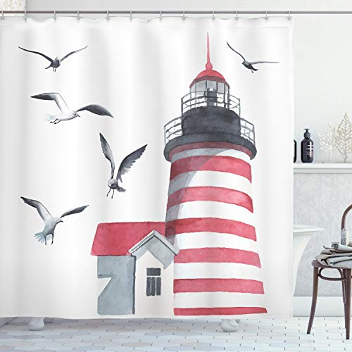 Ambesonne Lighthouse Shower Curtain, Lighthouse and Seagulls on The Beach Navigational Aid Seaside Waterways Art, Cloth Fabric Bathroom Decor Set with Hooks, 75