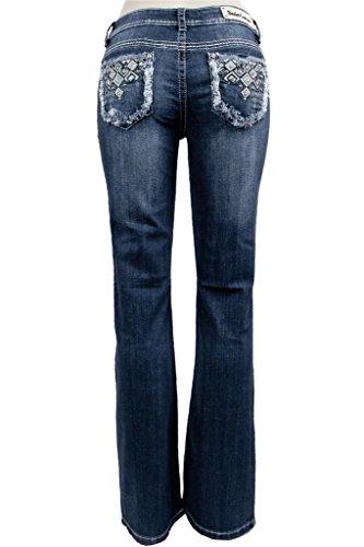 Denim Couture Women Rhinestone Pocket Blue Wash Denim Str...