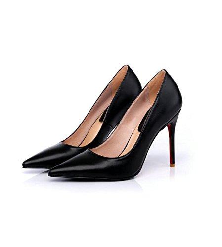 Chaussures Fines Jours Haute Simples En Cuir Chaussures Black Cuir Professionnelles De Avec Chaussures Marée Pointu Des GRRONG Haute Haine Talons Femme En Blanc dqd6aP