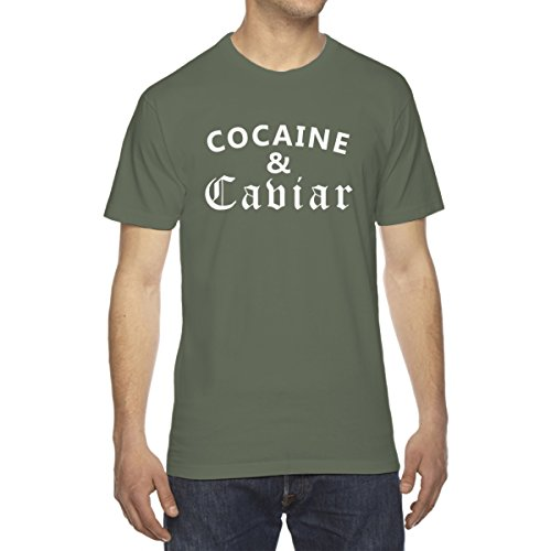 Decal Serpent Cocaine and Caviar Men's Crew Neck Cotton T-Shirt - [Military Green][XX-Large]