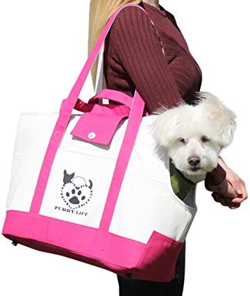 Furry Lift Pet Carrier Purse for Dogs or Cats, 8 Inner and Outer Pockets for Phone and Supplies, Safety Flaps, Up to 15lbs, Sherpa Insert, Perfect for Subway, Car, and Bus Travel