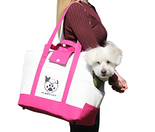 Furry Lift Pet Carrier Purse for Dogs or Cats, 8 Inner and Outer Pockets for Phone and Supplies, Safety Flaps, Up to 15lbs, Sherpa Insert, Perfect for Subway, Car, and Bus Travel (Pink and White)