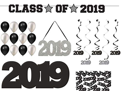 Graduation Decoration Party Supplies Kit Includes Class of 2019 Banner - Hanging Silver Glitter 2019 Sign - Dizzy Danglers - Black & Silver 2019 Cutout - Balloons and Confetti
