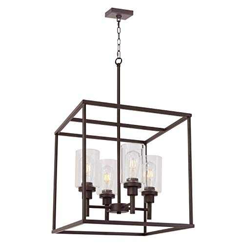VINLUZ Classic 4 Light Farmhouse Pendant Lighting Oil Rubbed Bronze Finish with Clear Glass Shade Cage Hanging Lamp Fixture for Hall Kitchen Island Foyer Entryway Dining Room