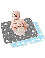 2 st baby skötmatta – spädbarn resa hopfällbara skötmattor, stora vattentäta tvättbara bebisblöjbytesmadrasser, nyfödda och spädbarn bärbar hopfällbar skötbädd barn neutral uppvikt blöja