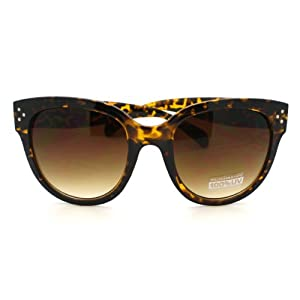 Turtle Shell Horn Rimmed Round Sunglasses with Signature 3 Metal Dot Front Side Trims