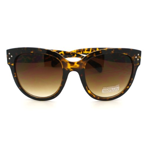 Turtle Shell Horn Rimmed Round Sunglasses with Signature 3 Metal Dot Front Side - Turtle Shell Sunglasses