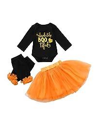 Vinjeely 3pcs Baby Girls Letter Heart Romper+Skirt+Legging Outfits Halloween Clothes