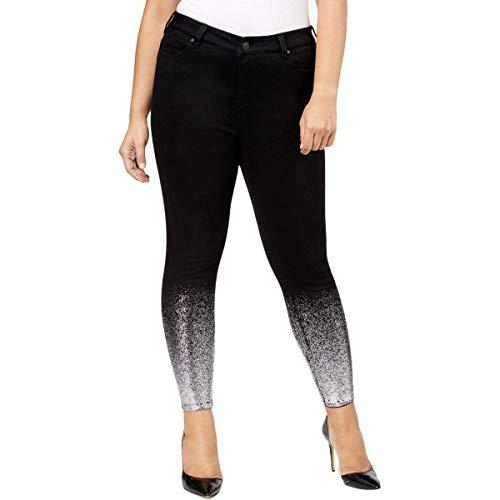 (Celebrity Pink Womens Malika Denim Metallic Ankle Jeans Black)